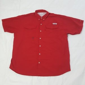 Columbia PFG Fishing Shirt Mens XL Red